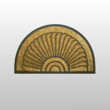 Coco Rubber Mat Mussel, small, with anti slip backing, semicircular Dimensions: l 75 x w 45 cm