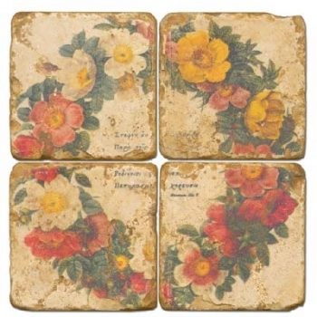 Marble Coasters, set of 4, illustration theme Floral Wreath, antique finish, cork backed, l 10 x w 10 x h 1 cm