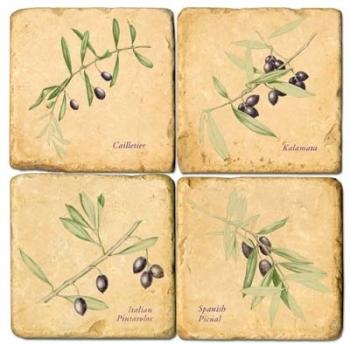 Marmor Untersetzer 4er Set, Motivserie Olivenzweige, Antikfinish, Kork-Rückseite, Maße: L 10 x B 10 x H 1 cm
