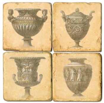 Sous-verres en marbre, 4 pièces, motif vases anciens, finition antique avec dos en liège, L 10 xl 10 x h 1 cm