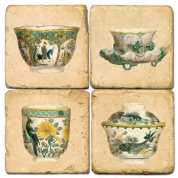 Marble Coasters, set of 4, illustration theme Tea Cups 1, antique finish, cork backed, l 10 x w 10 x h 1 cm