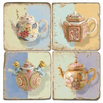 Marble Coasters, set of 4, illustration theme Tea Pots, antique finish, cork backed, l 10 x w 10 x h 1 cm