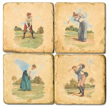 Marble Coasters, set of 4, illustration theme Golf 1, antique finish, cork backed, l 10 x w 10 x h 1 cm