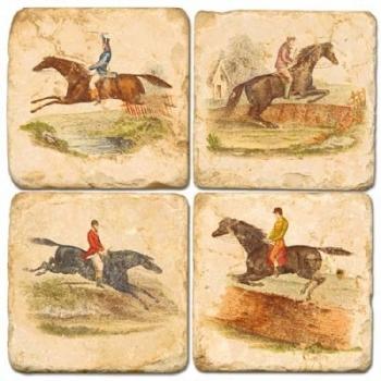 Sous-verres en marbre, 4 pièces, motif cheval et cavalier, finition antique avec dos en liège, L 10 xl 10 x h 1 cm