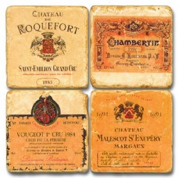 Marble Coasters, set of 4, illustration theme French Wine Labels 2, antique finish, cork backed, l 10 x w 10 x h 1 cm