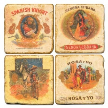 Marble Coasters, set of 4, illustration theme Cigar Labels 1, antique finish, cork backed, l 10 x w 10 x h 1 cm