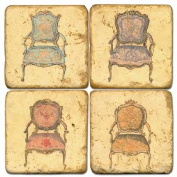 Marble Coasters, set of 4, illustration theme Classic Chairs, antique finish, cork backed, l 10 x w 10 x h 1 cm