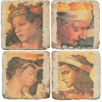 Marble Coasters, set of 4, illustration theme Classic Heads, antique finish, cork backed, l 10 x w 10 x h 1 cm
