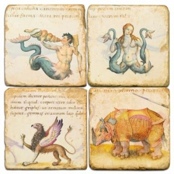 Marble Coasters, set of 4, illustration theme Mythical Creatures 1, antique finish, cork backed, l 10 x w 10 x h 1 cm