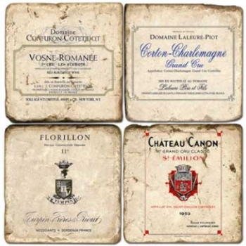 Marble Coasters, set of 4, illustration theme French Wine Labels 4, antique finish, cork backed, l 10 x w 10 x h 1 cm