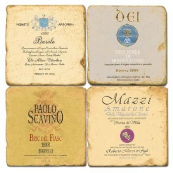Marble Coasters, set of 4, illustration theme Italian Wine Labels 1, antique finish, cork backed, l 10 x w 10 x h 1 cm