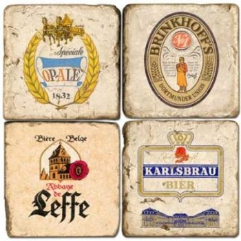 Marble Coasters, set of 4, illustration theme Beers 1, antique finish, cork backed, l 10 x w 10 x h 1 cm