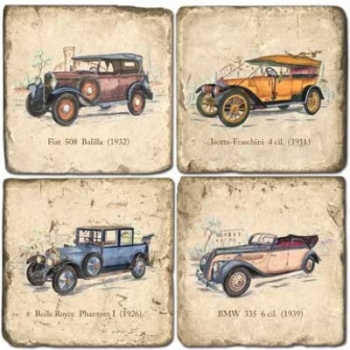 Marble Coasters, set of 4, illustration theme Classic Cars, antique finish, cork backed, l 10 x w 10 x h 1 cm