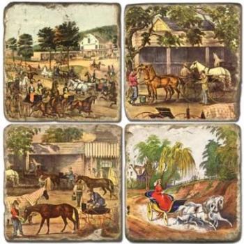 Marble Coasters, set of 4, illustration theme Horses 1, antique finish, cork backed, l 10 x w 10 x h 1 cm