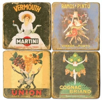 Marble Coasters, set of 4, illustration theme Liquor Labelss, antique finish, cork backed, l 10 x w 10 x h 1 cm