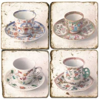 Marble Coasters, set of 4, illustration theme Tea Cups 2, antique finish, cork backed, l 10 x w 10 x h 1 cm