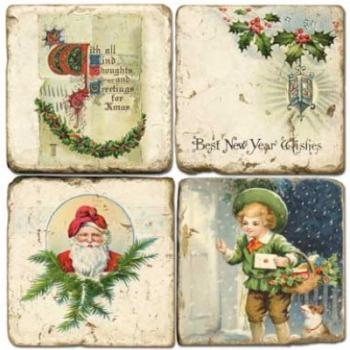Sous-verres en marbre, 4 pièces, motif Noël, finition antique avec dos en liège, L 10 xl 10 x h 1 cm