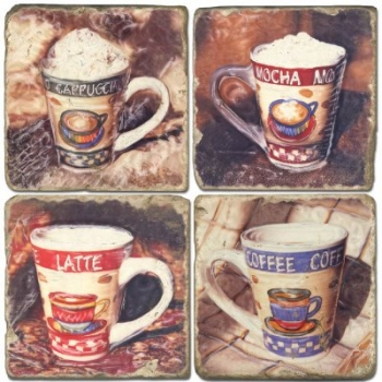 Marble Coasters, set of 4, illustration theme Coffee Cups 2, antique finish, cork backed, l 10 x w 10 x h 1 cm