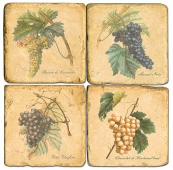 Marble Coasters, set of 4, illustration theme Grapes 1, antique finish, cork backed, l 10 x w 10 x h 1 cm