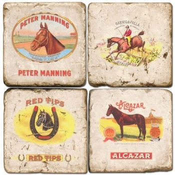 Marble Coasters, set of 4, illustration theme Cigar Labels 2, antique finish, cork backed, l 10 x w 10 x h 1 cm
