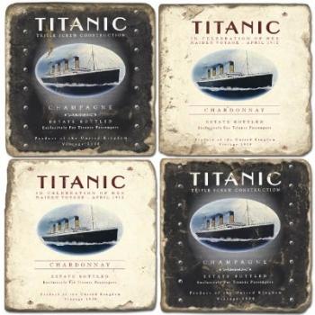 Sous-verres en marbre, 4 pièces, motif le Titanic, finition antique avec dos en liège, L 10 xl 10 x h 1 cm