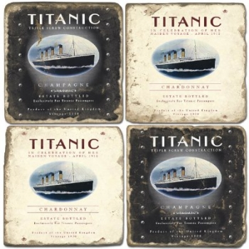 Marble Coasters, set of 4, illustration theme Titanic, antique finish, cork backed, l 10 x w 10 x h 1 cm