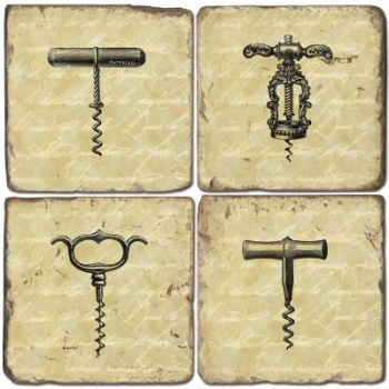 Marble Coasters, set of 4, illustration theme Corkscrews, antique finish, cork backed, l 10 x w 10 x h 1 cm