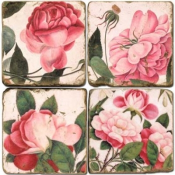 Marble Coasters, set of 4, illustration theme Rosy Roses, antique finish, cork backed, l 10 x w 10 x h 1 cm.