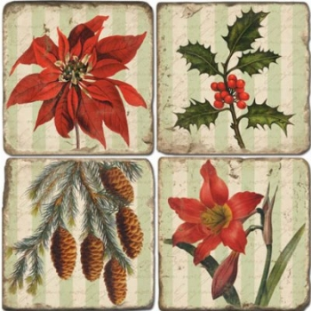 Marble Coasters, set of 4, illustration theme Poinsettia, antique finish, cork backed, l 10 x w 10 x h 1 cm