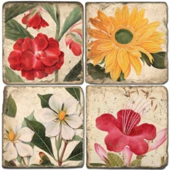 Marble Coasters, set of 4, illustration theme Summer Flowers 1, antique finish, cork backed, l 10 x w 10 x h 1 cm