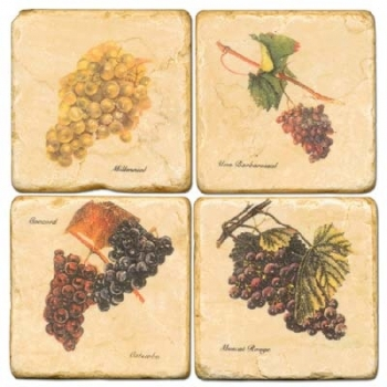 Marble Coasters, set of 4, illustration theme Grapes 2, antique finish, cork backed, l 10 x w 10 x h 1 cm