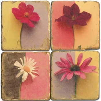 Marmor Untersetzer 4er Set, Motivserie Blüten,  Antikfinish, Kork-Rückseite, Maße: L 10 x B 10 x H 1 cm