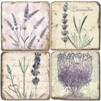 Marble Coasters, set of 4, illustration theme Lavender, antique finish, cork backed, l 10 x w 10 x h 1 cm