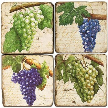 Marble Coasters, set of 4, illustration theme Grapes 3, antique finish, cork backed, l 10 x w 10 x h 1 cm