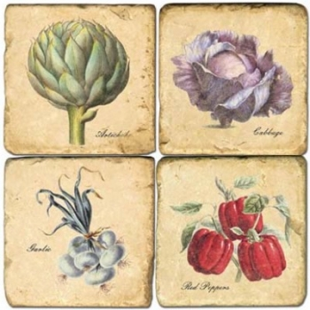 Marble Coasters, set of 4, illustration theme Vegetables 1, antique finish, cork backed, l 10 x w 10 x h 1 cm