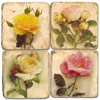 Sous-verres en marbre, 4 pièces, motif fleurs de roses, finition antique avec dos en liège, L 10 xl 10 x h 1 cm