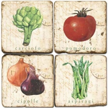 Marble Coasters, set of 4, illustration theme Vegetables 2, antique finish, cork backed, l 10 x w 10 x h 1 cm