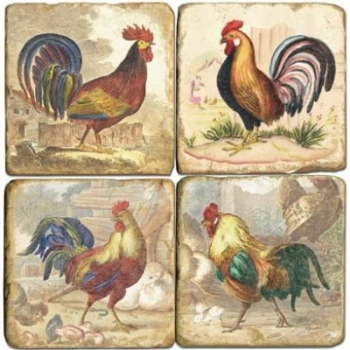 Marble Coasters, set of 4, illustration theme Roosters 1, antique finish, cork backed, l 10 x w 10 x h 1 cm