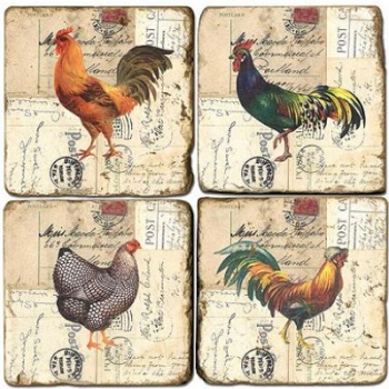 Marble Coasters, set of 4, illustration theme Roosters 2, antique finish, cork backed, l 10 x w 10 x h 1 cm