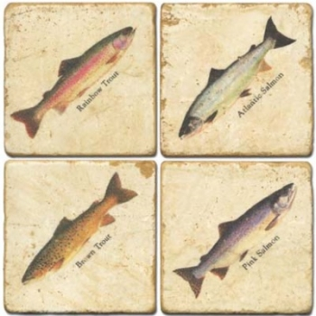 Marble Coasters, set of 4, illustration theme Trouts, antique finish, cork backed, l 10 x w 10 x h 1 cm