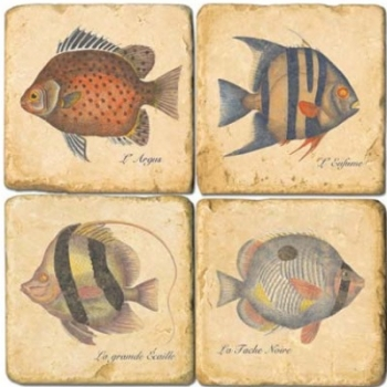 Marble Coasters, set of 4, illustration theme Tropical Fishes, antique finish, cork backed, l 10 x w 10 x h 1 cm