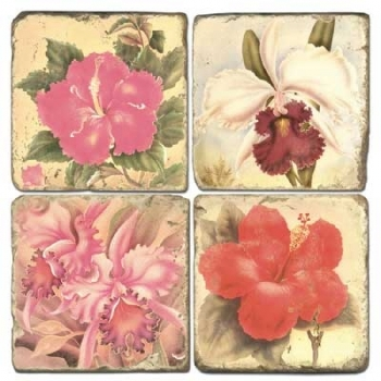 Marble Coasters, set of 4, illustration theme Tropical Flowers, antique finish, cork backed, l 10 x w 10 x h 1 cm