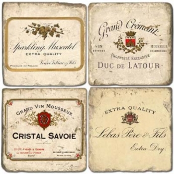 Marble Coasters, set of 4, illustration theme Champagne Labels, antique finish, cork backed, l 10 x w 10 x h 1 cm
