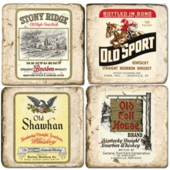 Marble Coasters, set of 4, illustration theme Whiskey Labels, antique finish, cork backed, l 10 x w 10 x h 1 cm