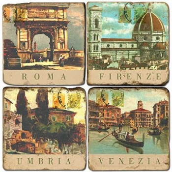Marble Coasters, set of 4, illustration theme Italian Cities, antique finish, cork backed, l 10 x w 10 x h 1 cm