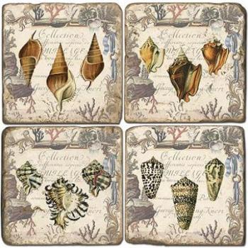 Sous-verres en marbre, 4 pièces, motif coquillages 1, finition antique avec dos en liège, L 10 xl 10 x h 1 cm