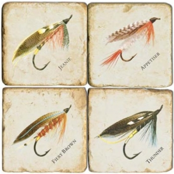 Marble Coasters, set of 4, illustration theme Fishing Flies 1, antique finish, cork backed, l 10 x w 10 x h 1 cm