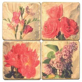 Marble Coasters, set of 4, illustration theme Flower Mix, antique finish, cork backed, l 10 x w 10 x h 1 cm