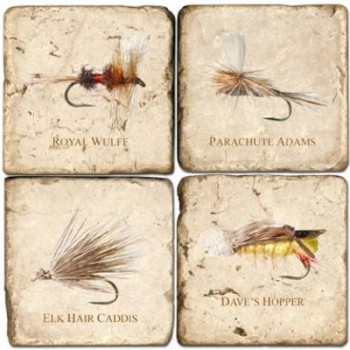 Marble Coasters, set of 4, illustration theme Fishing Flies 2, antique finish, cork backed, l 10 x w 10 x h 1 cm