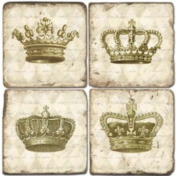 Marble Coasters, set of 4, illustration theme Crowns, antique finish, cork backed, l 10 x w 10 x h 1 cm